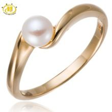 Freshwater Pearl Jewelry Yellow Gold Over Silver Solitaire Ring 925-Sterling-Silver Fine Jewellry wedding(China (Mainland))