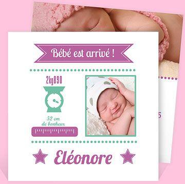 Faire-part naissance réf. N31129 chez monFairePart.com