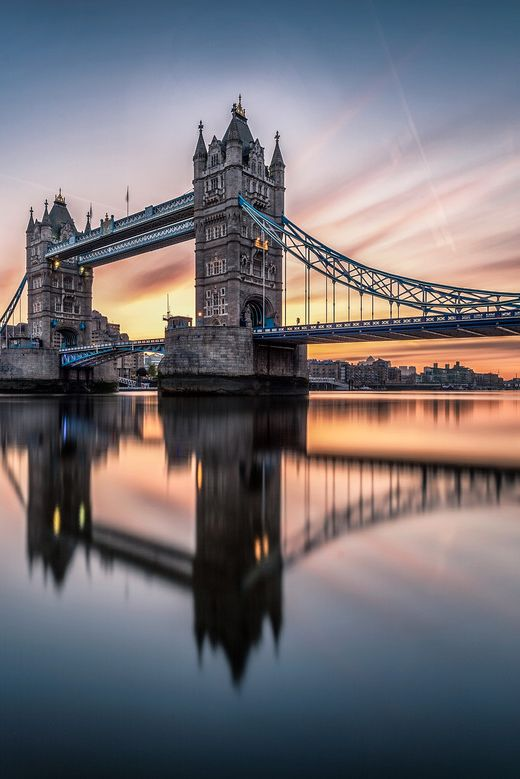 """Sunrise over the Tower Bridge by Yunli Song """
