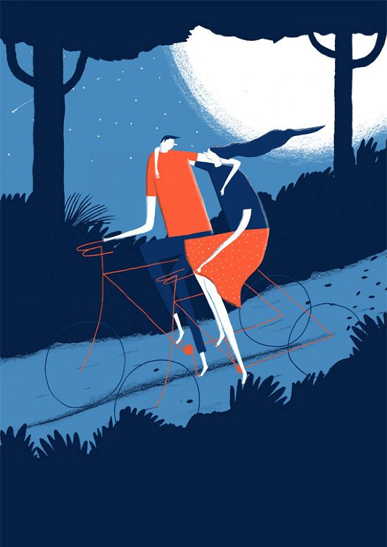Young Couple Riding Bicycles art illustration - Daniel Frost