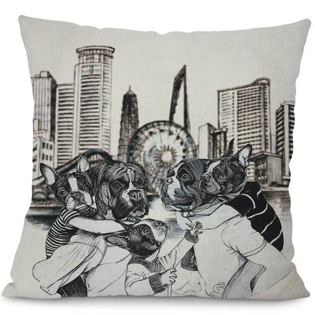 French Bulldog Frenchie Black And White Family Outing Pillow Case #ChairSketch