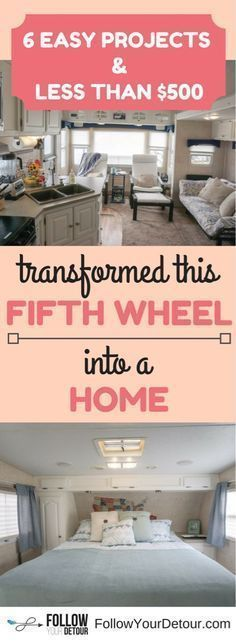 Easy, quick, cheap RV remodel tips. See how we transformed our fifth wheel camper into our home for full-time RV living for under $500! #RVliving #fifthwheelliving #fifthwheel #homeiswhereyoupark it #fulltimeRV #RVing #RVers #RVlife #camping #campgrounds #camplife #campinglife #RVremodel #fifthwheelremodel