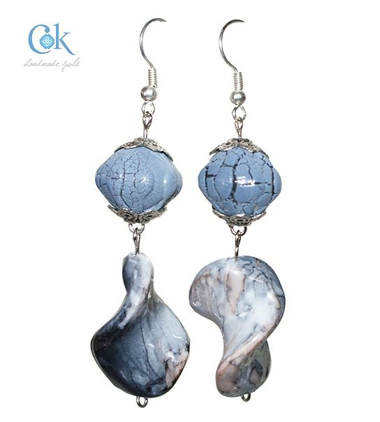 Blue rock like waved earrings (280)