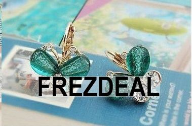 8 Pairs Alloy Crystal Butterfly Earrings/3 Colors Green/Blue/Pink.