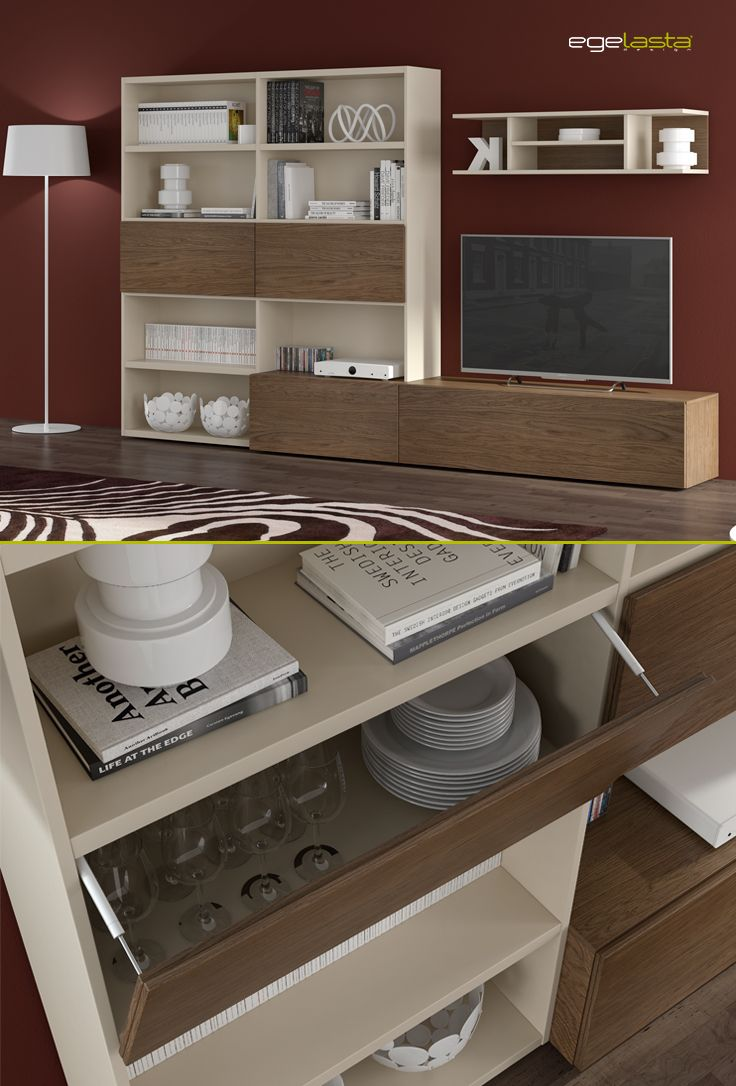 Muebles · egelasta · live · mueble · madera · moderno · comedor · librería · roble cuero · laca visón