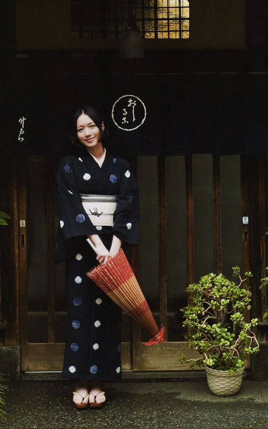 In Cotton Yukata, in front of Japanese sweets resraurant
