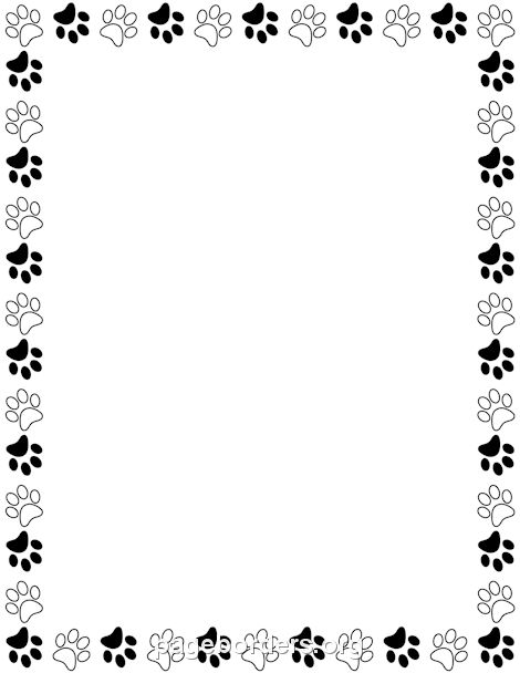Printable black and white paw print border. Use the border in Microsoft Word or other programs for creating flyers, invitations, and other printables. Free GIF, JPG, PDF, and PNG downloads at http://pageborders.org/download/black-and-white-paw-print-border/