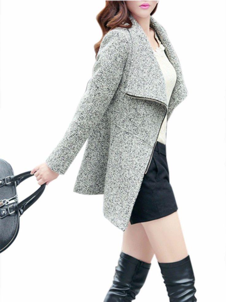 Casual Women Lapel Zipper Long Sleeve Slim Woolen Coat at Banggood