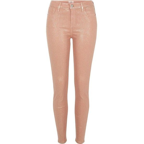 River Island Peach glitter coated Amelie skinny jeans ($90) ❤ liked on Polyvore featuring jeans, skinny jeans, women, button-fly jeans, super skinny jeans, skinny fit denim jeans and tall jeans
