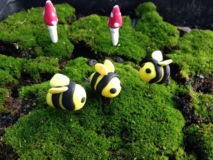 Handmade polymer clay bumble bees & toadstools  Follow us on Facebook www.facebook.com/ck.kreations
