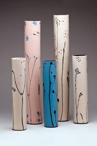 Susan NEMETH // Vases, 'Grasses'. Porcelain and stains, slab-built. Height 34-58cm