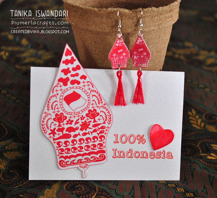 Handmade greeting card and paper earring.. with digital image pattern especially made to celebrate Indonesian Independence Day :)
