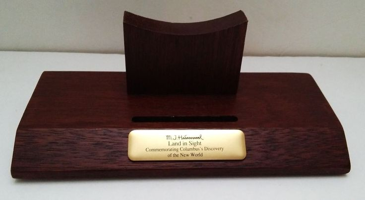 MJ Hummell Land In Sight Columbus Commemorative Plate Display Stand Wood Holder
