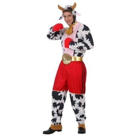 #Vaca Disfraz de Vaca Boxeadora  Incluye: Mono con cabeza, calzon, cinto, guantes y collar  Composición: Antelina y punto http://www.disfracessimon.com/disfraces-originales-divertidos/2290-disfraz-vaca-boxeadora-p-2290.html