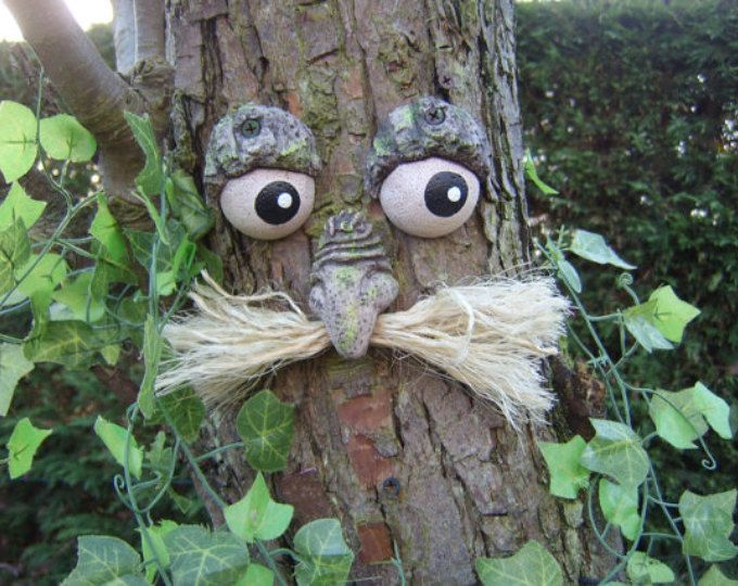 statue tree decoration sculpture Moustached TREE FACE gifts Garden ornament