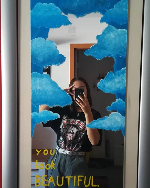 Aesthetic Aestheticoutfit Grungeoutfits Clouds Cloudpainting Aesthetic Aestheticoutfi Bedroom Art Painting Mirror Painting Painted Bedroom Doors