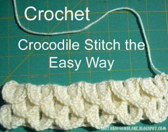 Lost & Found Lane: Crocodile Stitch The Easy WayKnits Crochet, Crochet Tutorials, Yarns, Crochetstitches, Crochet Stitches, Crochet Pattern, Crocodile Stitches, Crochet Knits, Crafts