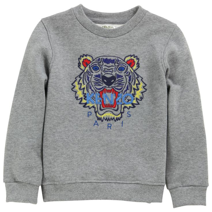 Mottled light grey sweatshirt made of fleece. Stretch ribbed neckline, cuffs and waistband. Tiger head embroidery on the chest. - 76,00 €