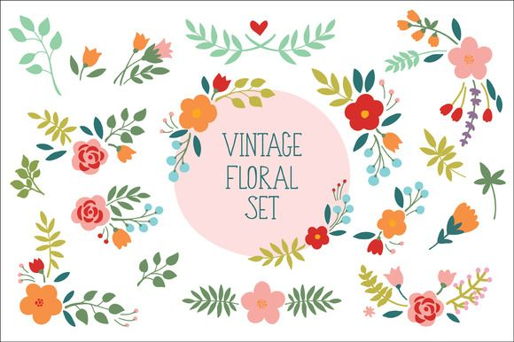 Check out Vintage Floral Set by Maria Galybina on Creative Market