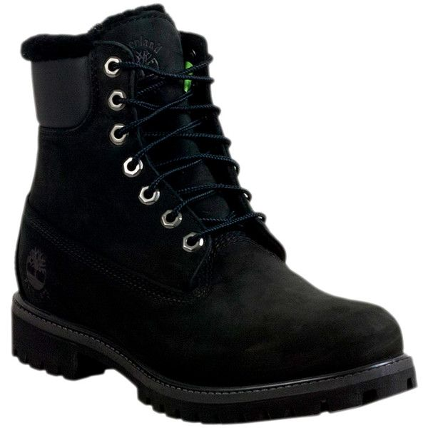 Timberland 6-Inch Fur-Lined Men's  Boot ($240) ❤ liked on Polyvore featuring men's fashion, men's shoes, men's boots, men's work boots, shoes, black, black mens boots, mens work boots, mens fur lined boots and mens black waterproof boots