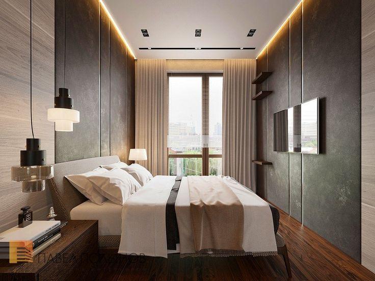 Фото: Интерьер спальни с черными стенами - Квартира в стиле минимализм, ЖК «Смольный парк», 103 кв.м.