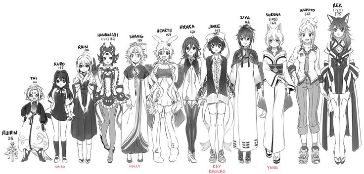 Calendar Typography Height : Ocs with their height in cm illustrators