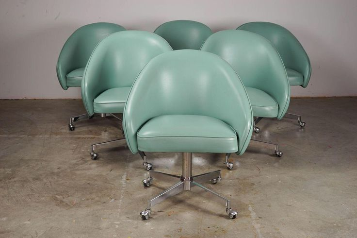 Mid-Century Vinyl Rolling Swivel Dining Chairs - Set of 6 on Chairish.com