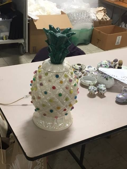 Amazing pineapple lamp donated for the 2017 White Elephant Sale!
