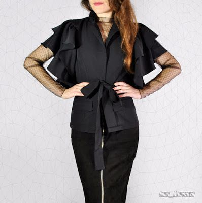 Stylish things:  Blazer with sleeves-ruffles! View more info click...