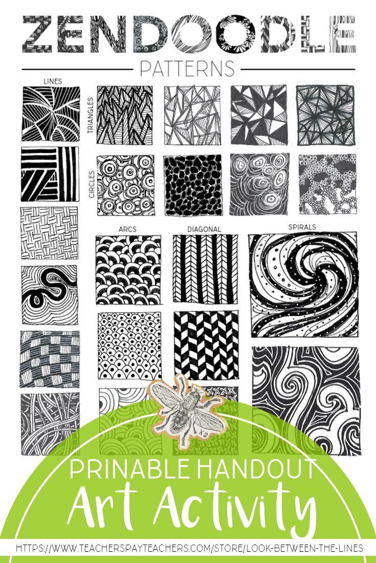 Zendoodle Pattern Examples Printable Worksheet Visual Art Drawing