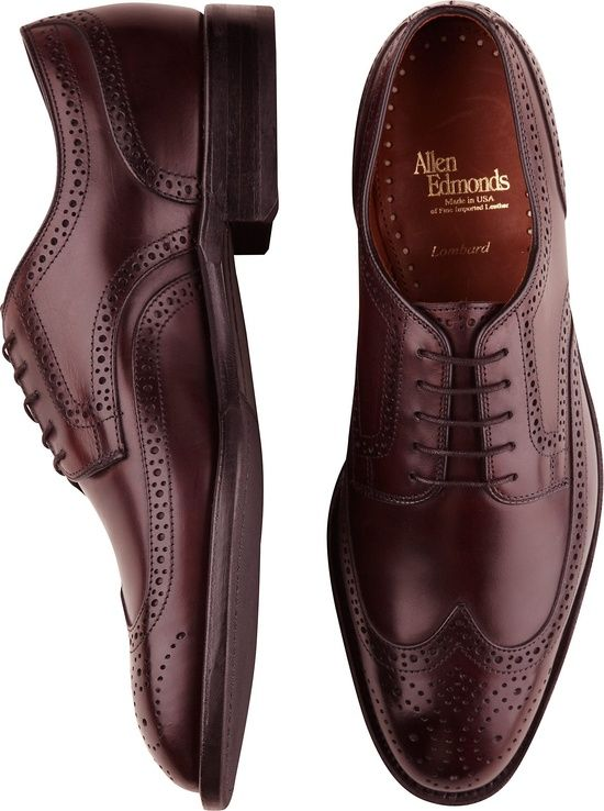 &* Allen Edmonds Burgundy Lombard Wingtip Shoes