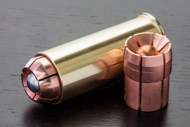 OATH Ammunition has created a 12 gauge hollowpoint-like round. They call it a fragmenting slug.  There is some emphasis on expansion, which is what interests me when it comes to defense rounds, but from what I've seen of the design, the projectiles almost seem to open, split and then fragment.