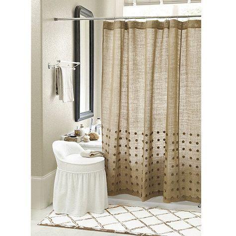 Bamboo Trellis Bath Mat And Burlap Shower Curtain