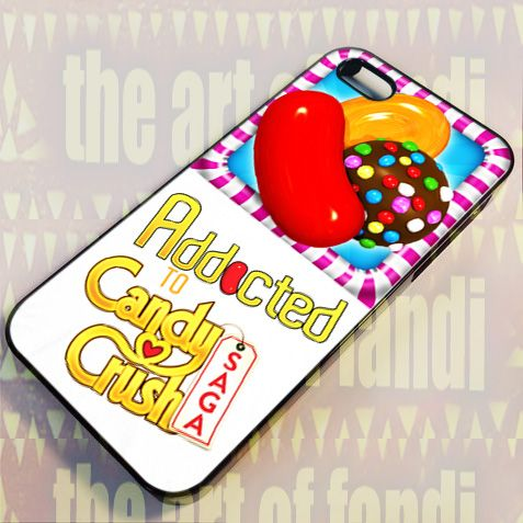 Addicted To Candy Crush For iPhone 4 or 4s Black Rubber Case