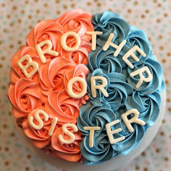 Brother or sister? Gender reveal cake