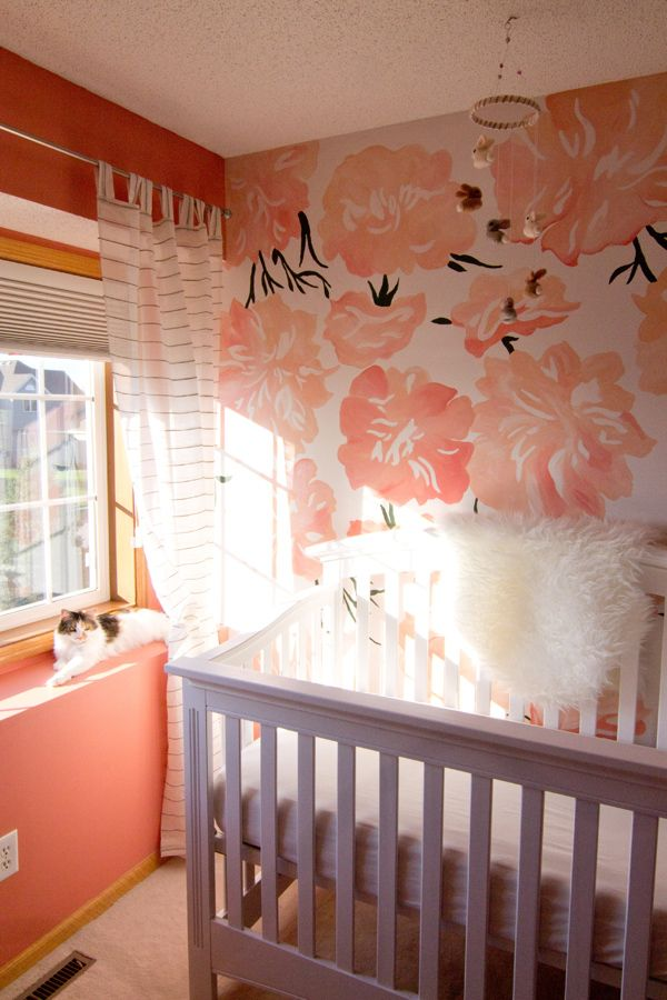 Baby V's Pink Peony Nursery Flower, Murals and Baby girl