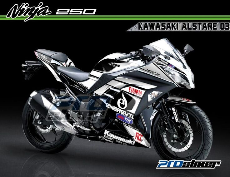 Decal Ninja 250 FI Putih Modifikasi Full Body Motif DUCATI ALSTARE 03 Hitam Prostiker