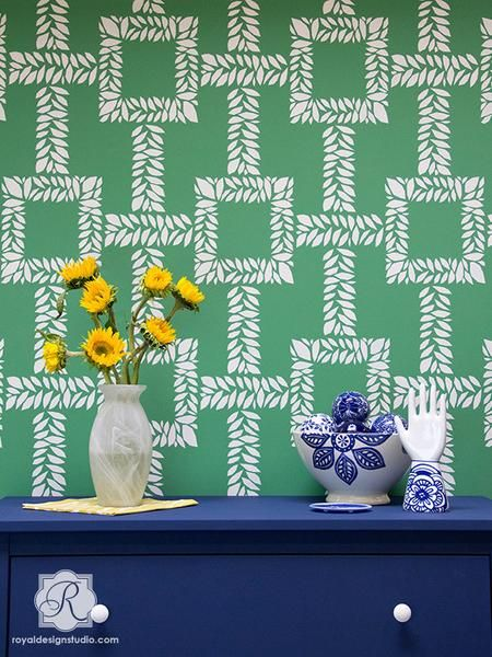The perfect modern furniture stencil in a contemporary trellis design, our new Boxwood Trellis Furniture Stencil is ideal for your favorite furniture pieces or craft projects. Also available as a Large Boxwood Trellis Stencil for walls.
