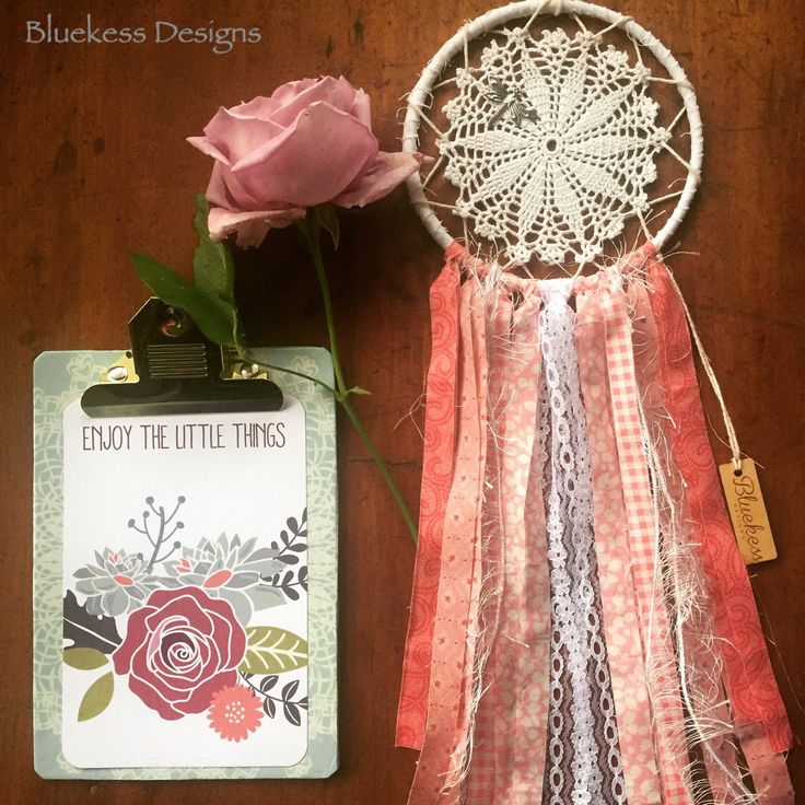 Boho Up-cycled Vintage Pink and White Dream Catcher by BluekessDesigns on Etsy