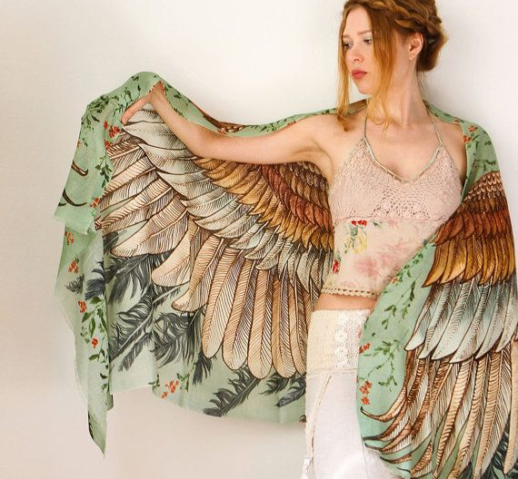 Green Women scarf, Hand painted Wings and feathers, stunning unique and useful, perfect gift » Gorgeous!