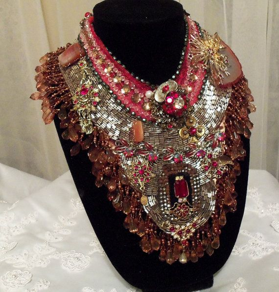 Royal Red Bib Necklace Red Beaded Statement by HopscotchCouture