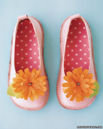 Flower Shoes - Put spring into your little girl's step with pretty paper-flower clips. Transform tissue or crepe paper into dahlias and use them to decorate barrettes and shoes, or to make a lovely bouquet.