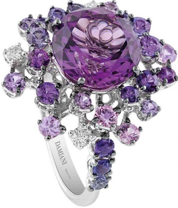 Amethyst, Diamond, and Sapphire Ring