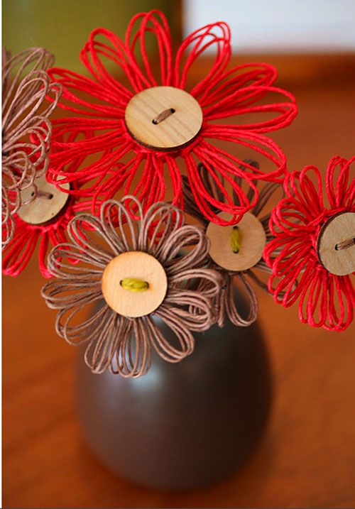 Button and Raffia flowers