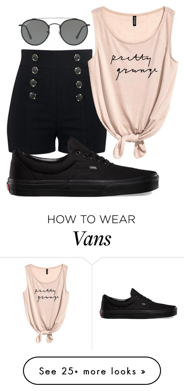 """High-waisted Shorts"" by mializabeth on Polyvore featuring Vans and Ray-Ban"