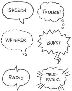 Sketch notes >> Varieties of speech bubbles. Thought, whisper, outburst, radio, telepathic.