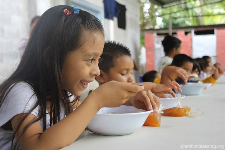 El Salvador - Children enjoy a nutritious meal as part of a community feeding program.   Please pray for hungry children in El Salvador and throughout Latin America. Pray for additional resources for their families and that special feeding programs like this one would be able to meet their needs and provide nutritious meals that would fill their empty stomachs.