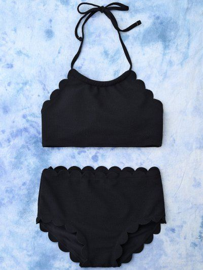 SHARE & Get it FREE   High Rise Halter Scalloped Bathing Suit - BlackFor Fashion Lovers only:80,000+ Items • New Arrivals Daily Join Zaful: Get YOUR $50 NOW!