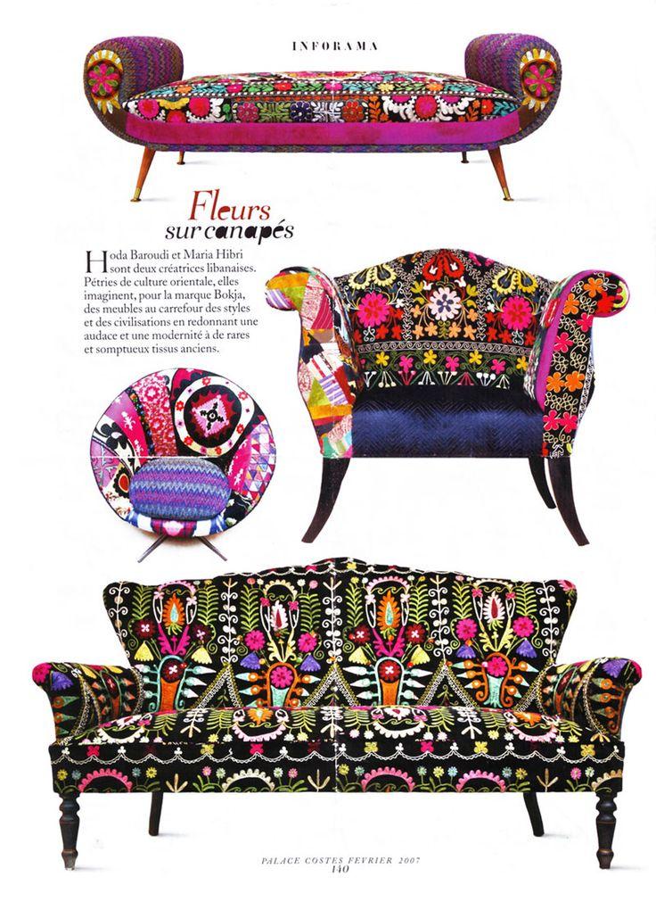 Sofas de colores, quilts y bordados