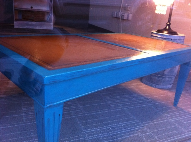 teal coffee table, shabby chic coffee table, coffee table, blue coffee table, leather inlay table, chicago shabby chic,